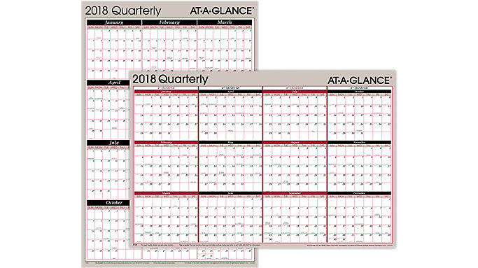 AT-A-GLANCE 2-Sided Erasable Wall Calendar  (A123)