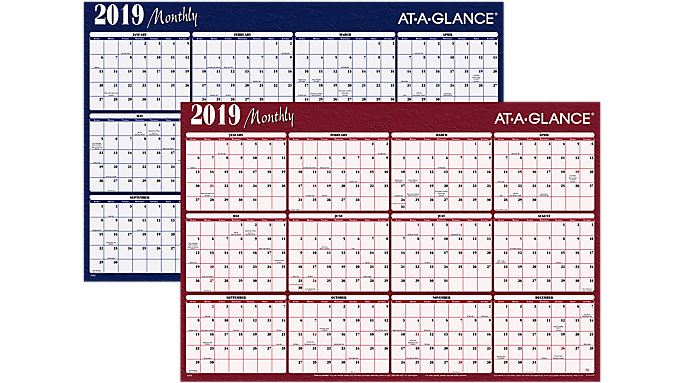 AT-A-GLANCE XL 2-Sided Horizontal Erasable Wall Calendar  (A152)