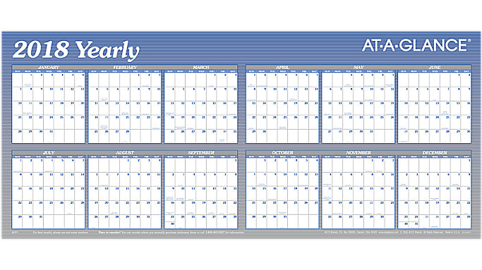 AT-A-GLANCE XL Horizontal Erasable Wall Calendar  (A177)