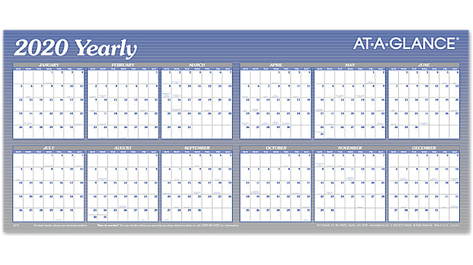 Large Wall Calendar 2020 XL Horizontal Erasable Wall Calendar | A177 | AT A GLANCE