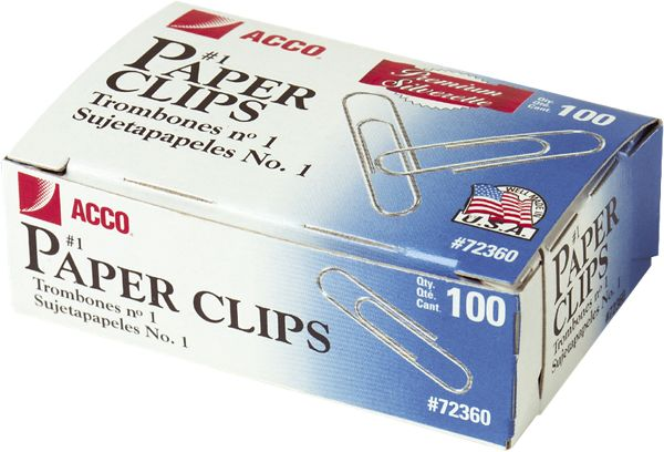 Acco Premium Paper Clips Smooth Finish - Staples & Clips