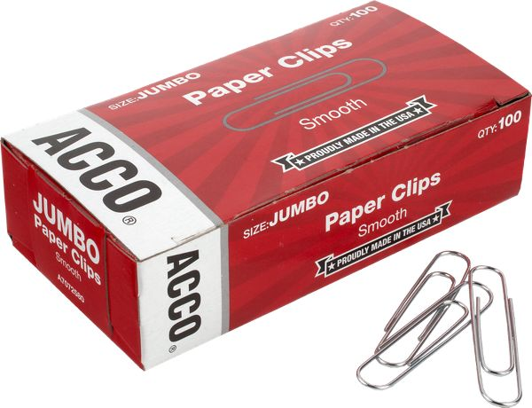 Acco Economy Jumbo Paper Clips Smooth Finish - Staples & Clips