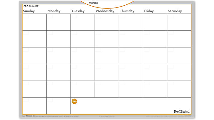 AT-A-GLANCE WallMates Dry Erase Monthly Planning Surface  (AW4020)