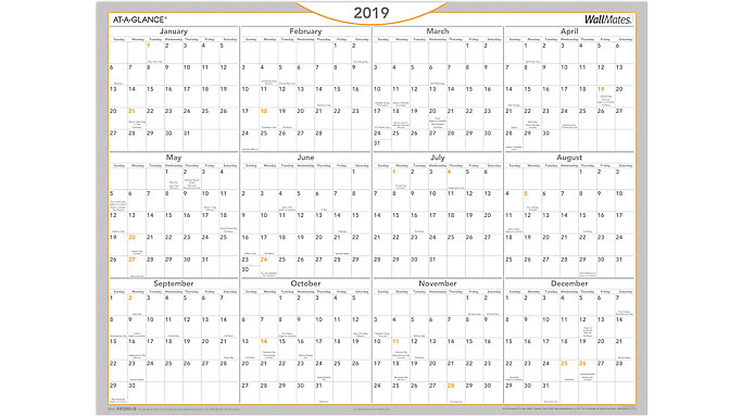 AT-A-GLANCE WallMates Dry Erase Yearly Calendar  (AW5060)