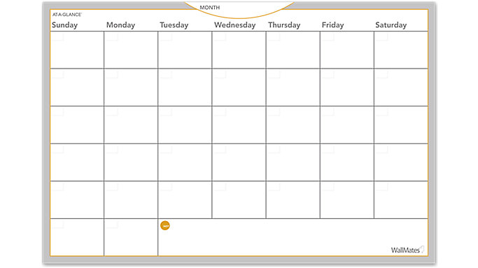 photo relating to Monthly Planning Calendar named AT-A-Appear WallMates Dry Erase Month-to-month Designing Show up