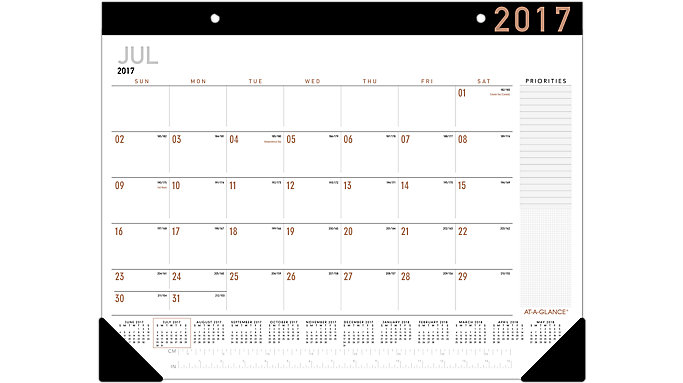 AT-A-GLANCE Contempo Academic Monthly Desk Pad  (AY24X)