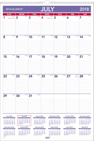 At-A-Glance Academic Plan-A-Month Wall Calendar - Education Organization Supplies
