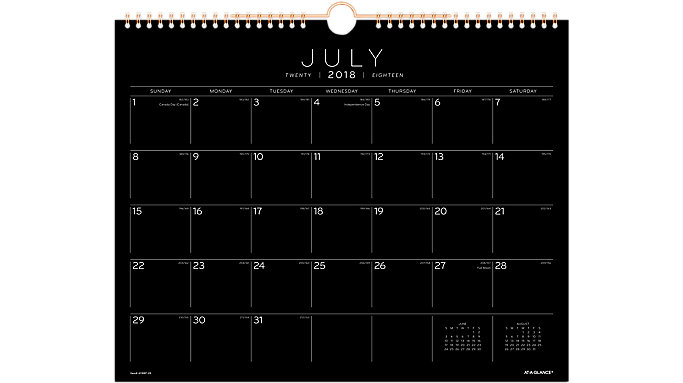 AT-A-GLANCE Black Paper Monthly Wall Calendar  (AY8BP)