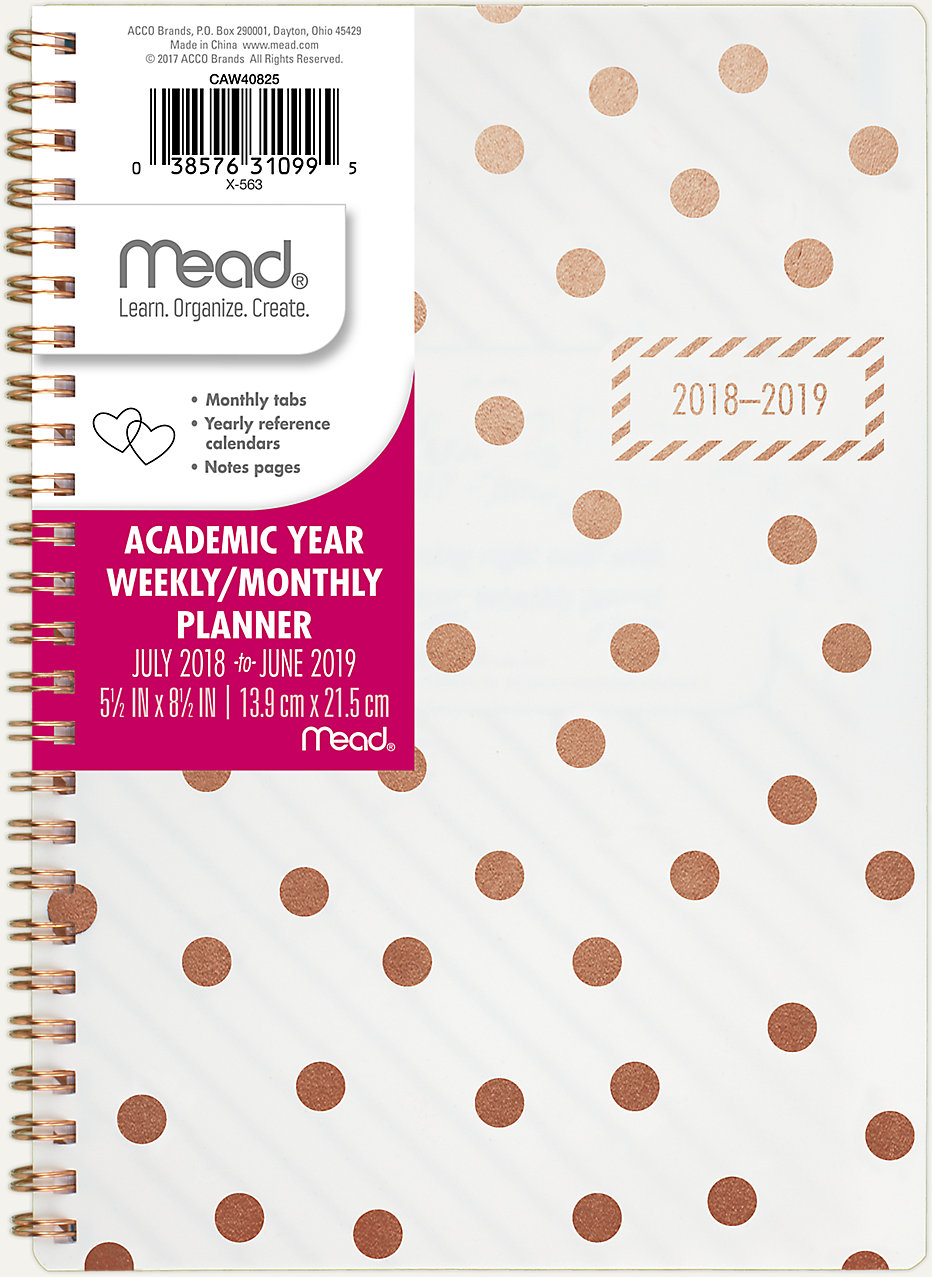 gold bold academic weekly monthly planner caw408 mead