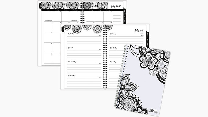 mead zendoodle academic weekly monthly planner caw413
