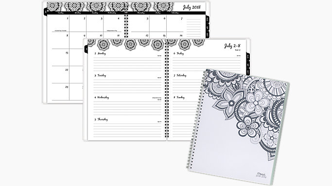 mead zendoodle academic weekly monthly planner caw604