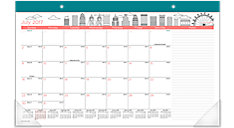 Paint the Town Academic Compact Monthly Desk Pad (Item # D1017-705A)