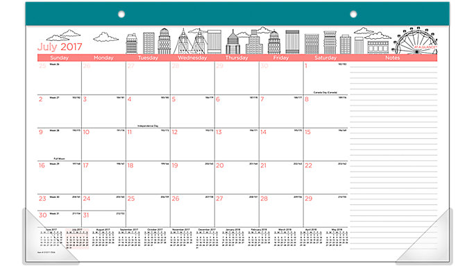 AT-A-GLANCE Paint the Town Academic Compact Monthly Desk Pad  (D1017-705A)