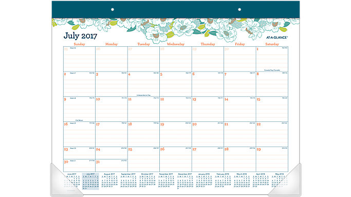 AT-A-GLANCE Mia Academic Monthly Desk Pad  (D1018-704A)