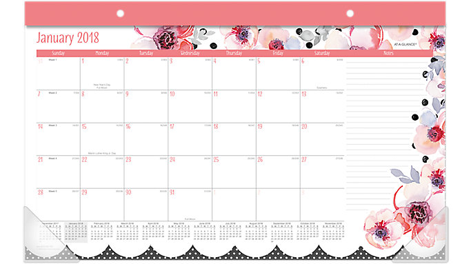 AT-A-GLANCE Kathy Davis Compact Monthly Desk Pad  (D1035-705)
