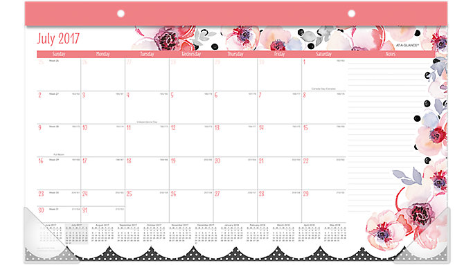 AT-A-GLANCE Kathy Davis Academic Compact Monthly Desk Pad  (D1035-705A)