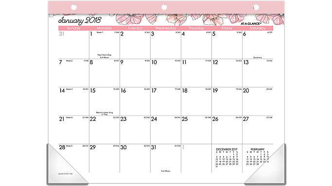 AT-A-GLANCE Blush Mini Monthly Desk Pad  (D1041-706)
