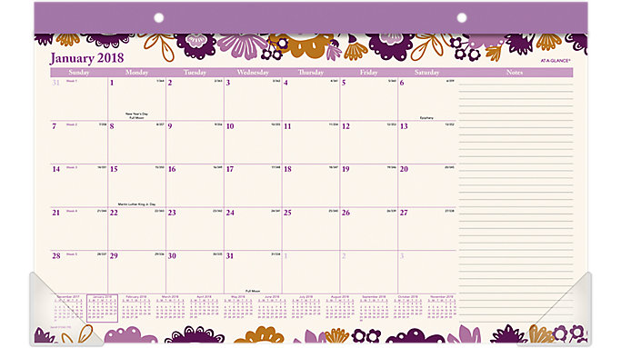 AT-A-GLANCE Ingrid Compact Monthly Desk Pad  (D1042-705)