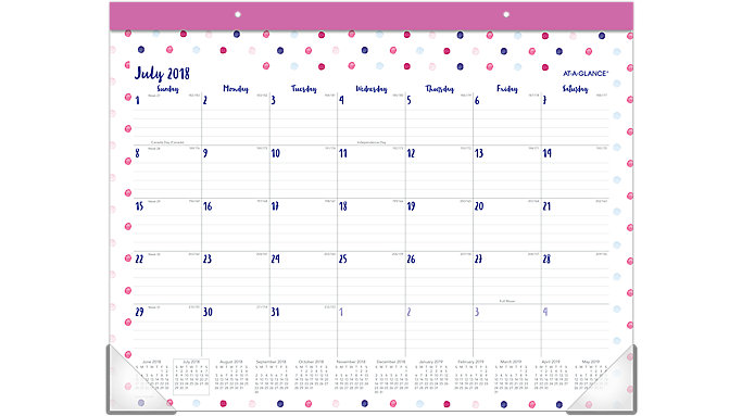 AT-A-GLANCE Carousel Dot Academic Monthly Desk Pad  (D1112D-704A)