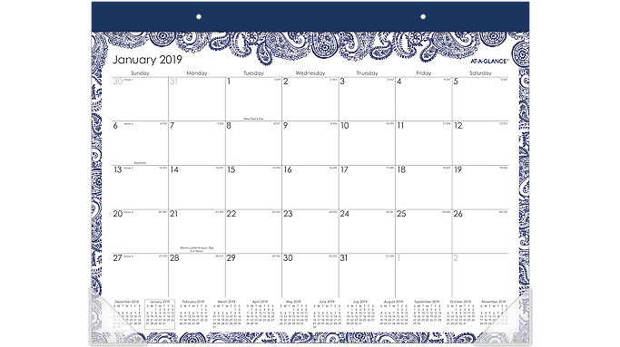 AT-A-GLANCE Paige Monthly Desk Pad Calendar  (D1141-704)