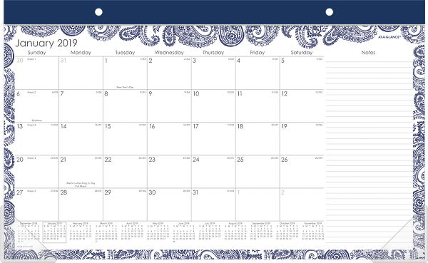 At-A-Glance Paige Compact Monthly Desk Pad Calendar - Calendars