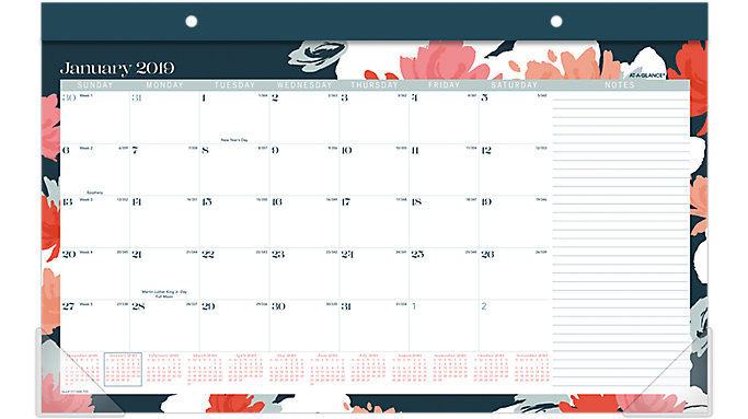 AT-A-GLANCE Badge Compact Monthly Desk Pad Calendar  (D1148-705)
