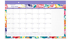 BADGE Floral Compact Academic Monthly Desk Pad Calendar (Item # D1408-705A)