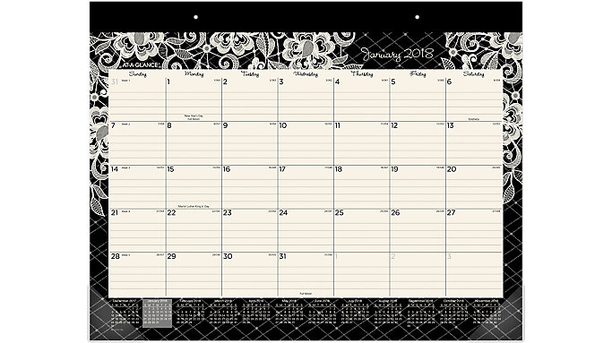 AT-A-GLANCE Lacey Monthly Desk Pad  (D141-704)