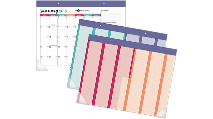 AT-A-GLANCE Harmony Monthly Desk Pad with Reusable Stickers  (D6099-704)