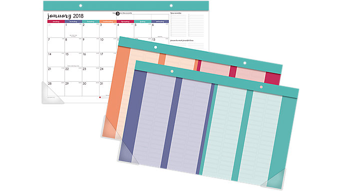 AT-A-GLANCE Harmony Compact Monthly Desk Pad with Reusable Stickers  (D6099-705)