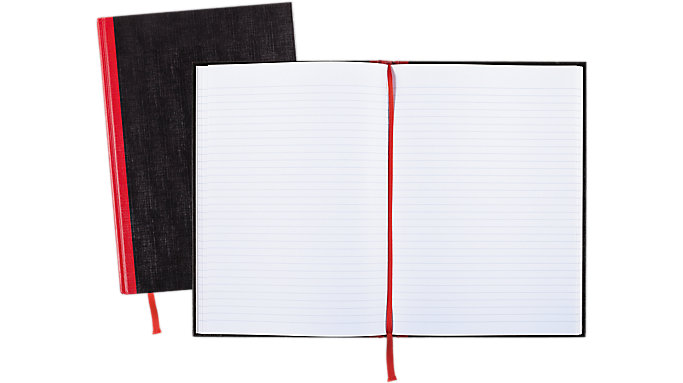 Black n' Red  Ruled Hardcover Business Notebook  (D66174)