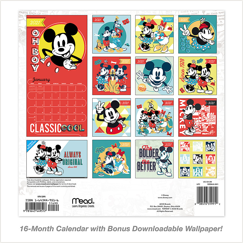 Disney Mickey Mouse 12x12 Monthly Wall Calendar Ddd848 Mead