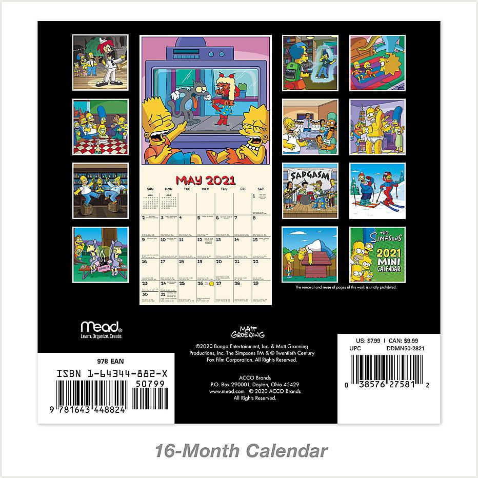 the simpsons 7x7 mini monthly wall calendar ddmn60 mead mead the simpsons 7x7 mini monthly wall calendar