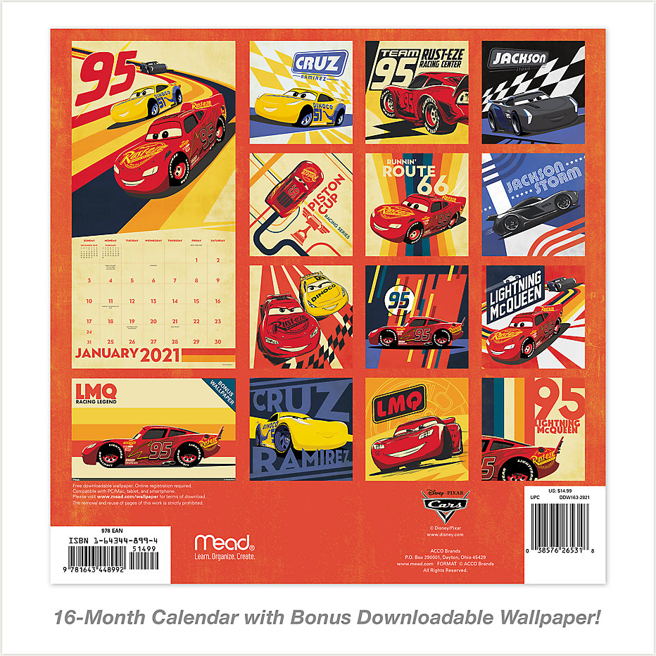 Disney Pixar Cars 12x12 Monthly Wall Calendar Ddw163 Mead