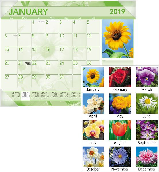 At-A-Glance Antique Floral Monthly Desk Pad -
