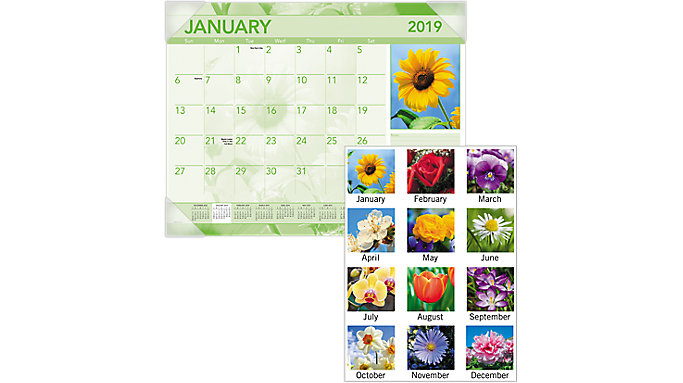 AT-A-GLANCE Antique Floral Monthly Desk Pad  (DMD135)