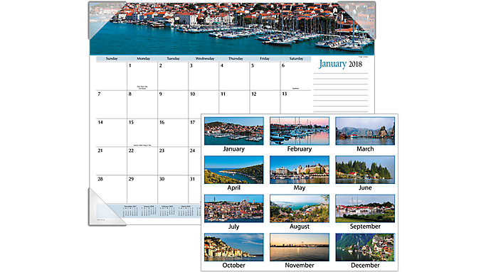 AT-A-GLANCE Harbor Views Monthly Desk Pad  (DMD145)