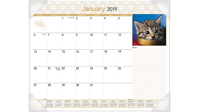 AT-A-GLANCE Kittens Monthly Desk Pad  (DMD167)