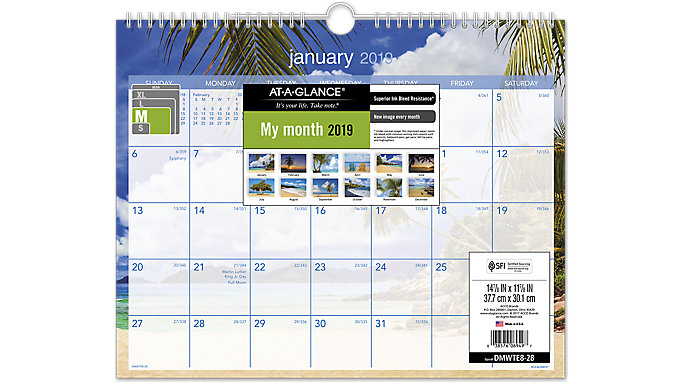 tropical escape wall calendar