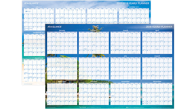 AT-A-GLANCE Tropical Escape 2-Sided Horizontal Erasable Wall Calendar  (DMWTEE)