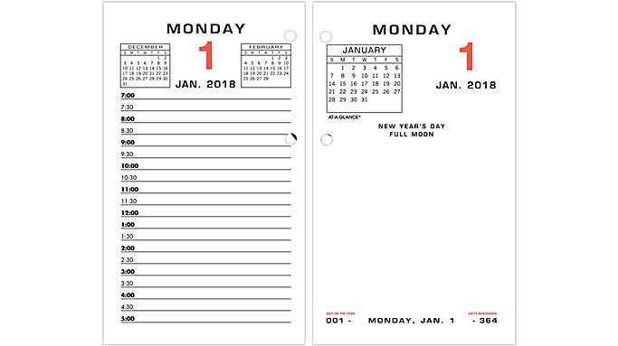 AT-A-GLANCE Daily Desk Calendar Refill  (E017)