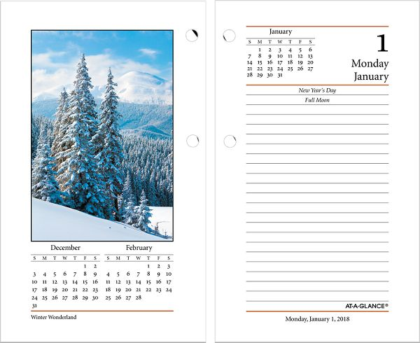 At-A-Glance Daily Photographic Desk Calendar Refill - Desk Calendar Refills