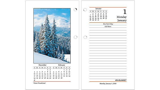 AT-A-GLANCE Daily Photographic Desk Calendar Refill  (E417)