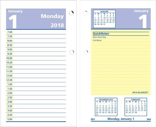 At-A-Glance QuickNotes Daily Desk Calendar Refill - Desk Calendar Refills