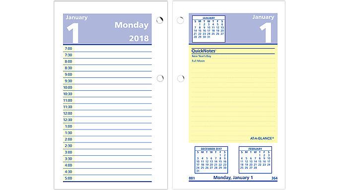 AT-A-GLANCE QuickNotes Daily Desk Calendar Refill  (E517)