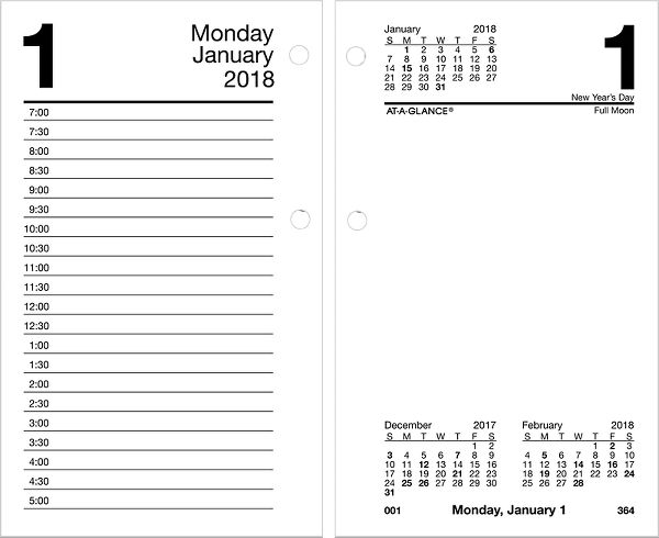 At-A-Glance Recycled Daily Desk Calendar Refill - Desk Calendar Refills