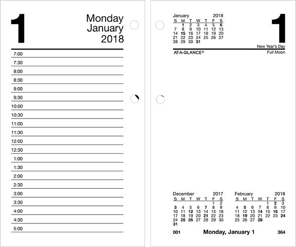At-A-Glance Daily Desk Calendar Refill with Monthly Tabs - Desk Calendar Refills
