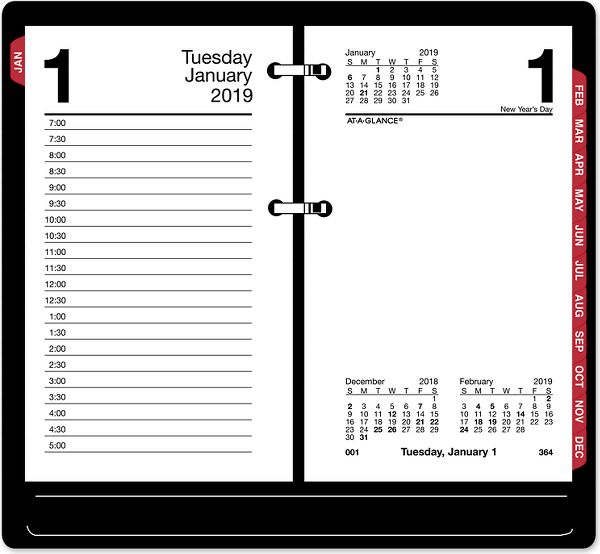 At-A-Glance Daily Desk Calendar Refill with Monthly Tabs - Calendars