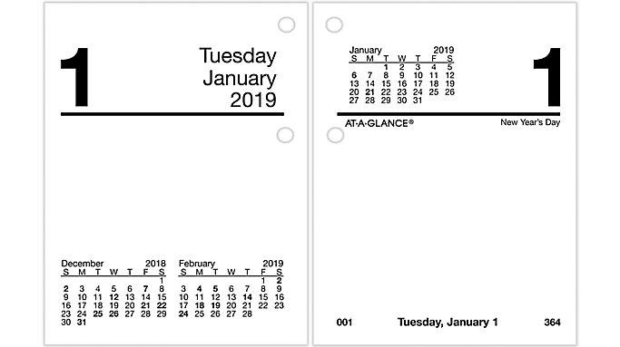 AT-A-GLANCE Compact Daily Desk Calendar Refill  (E919)