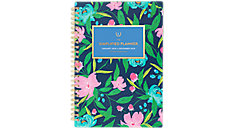 Simplified Navy Floral Weekly-Monthly Planner (Item # EL304-200)